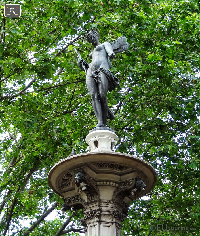 Nymphe Fluviale Statue On Top Of Fountain Pedestal