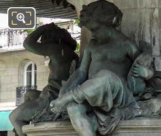 Bronze Children Statues On Fontaine Du Theatre-Francais Nymphe Fluviale