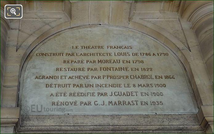 Inscription Above J B P Moliere Sculpture