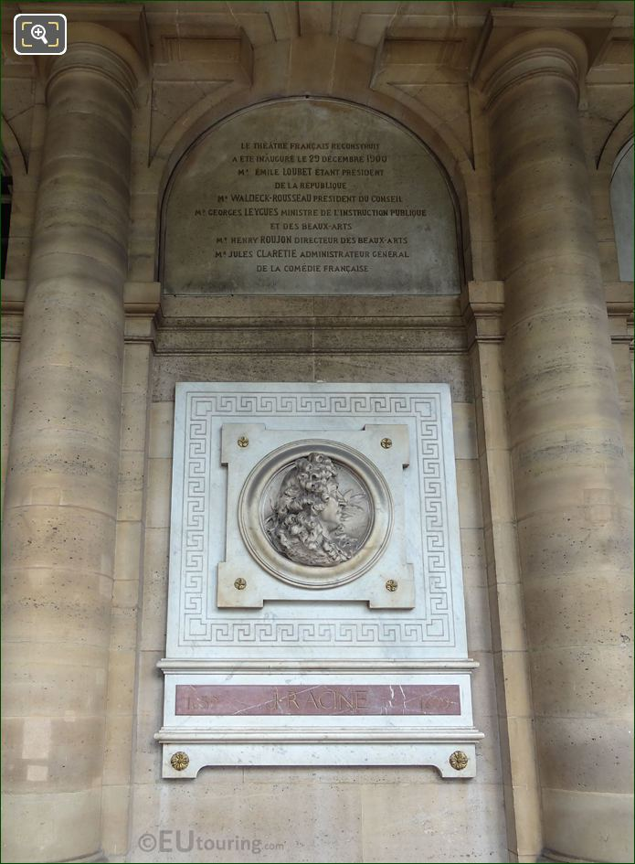 Comedie Francaise Wall With Jean Racine Sculpture