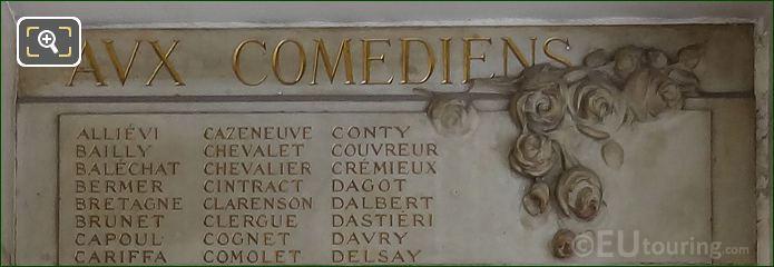 Comedians Names Inscribed On Monument To Aux Comediens Morts Pour La France