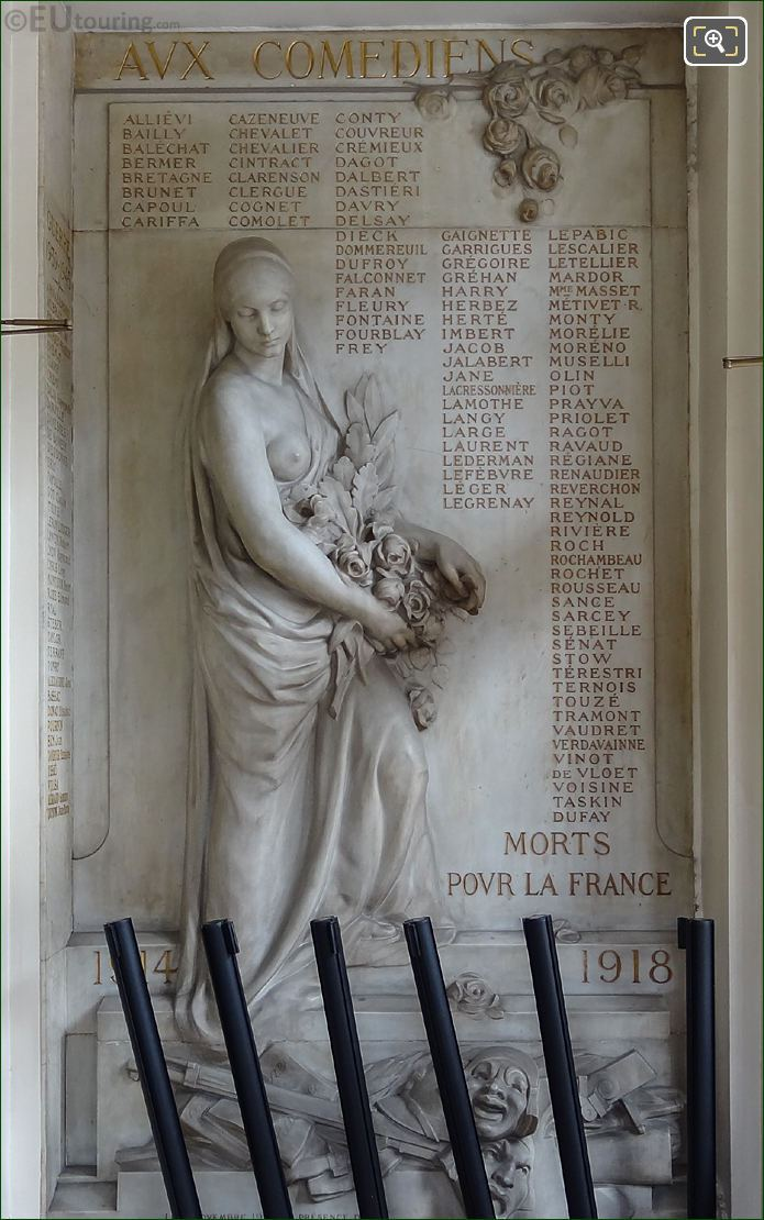 Monument To Aux Comediens Morts Pour La France In Comedie Francaise