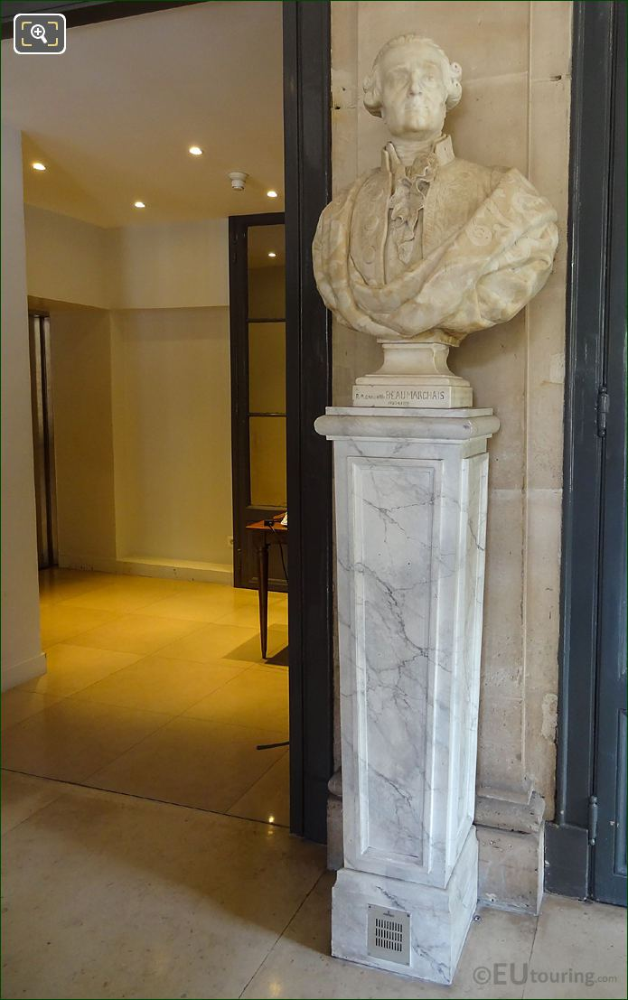 Beaumarchais Bust On Its Pedestal At Comedie Francaise
