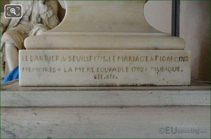 The Marriage Of Figaro Produced In 1762 Inscription On Beaumarchais Bust