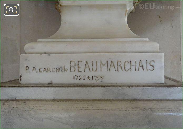 P A Caron de Beaumarchais Inscription On Marble Bust