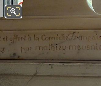 Bust Inscription Offered To Comedie Francaise By Mathieu Meusnier