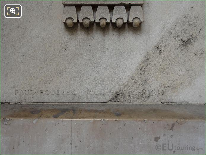 Left Hand Side Paul Roussel 1906 Inscription On Gustave Larroumet Statue