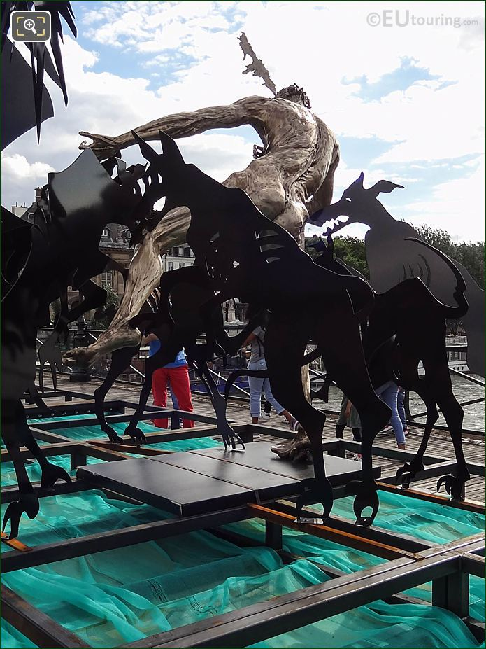 Black Hounds Attacking Acteon Sculpture