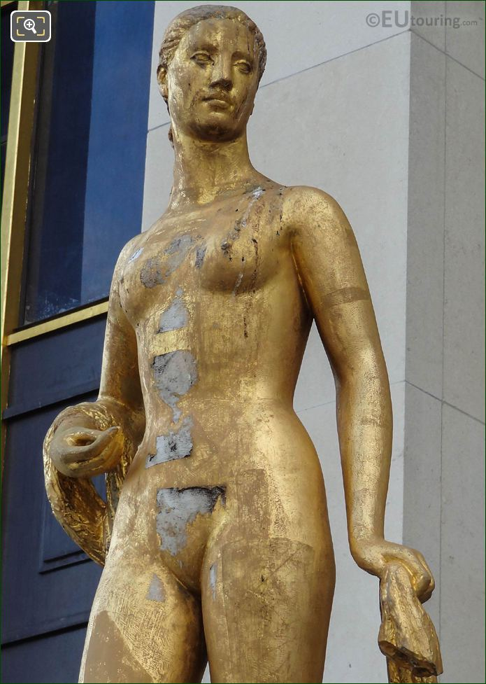 Palais Chaillot Golden Statue Roman Goddess Of Flowers