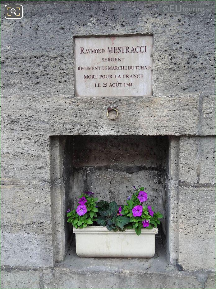 Memorial For Raymond Mestracci On Tuileries Gardens Wall