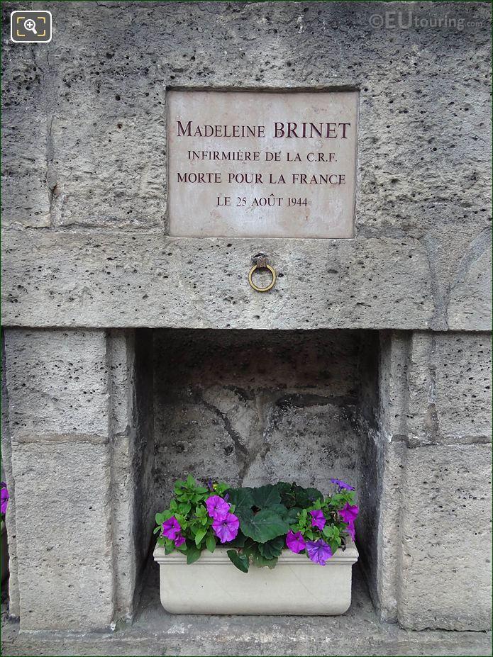 WW II Memorial Madeleine Brinet Tuileries Gardens Wall