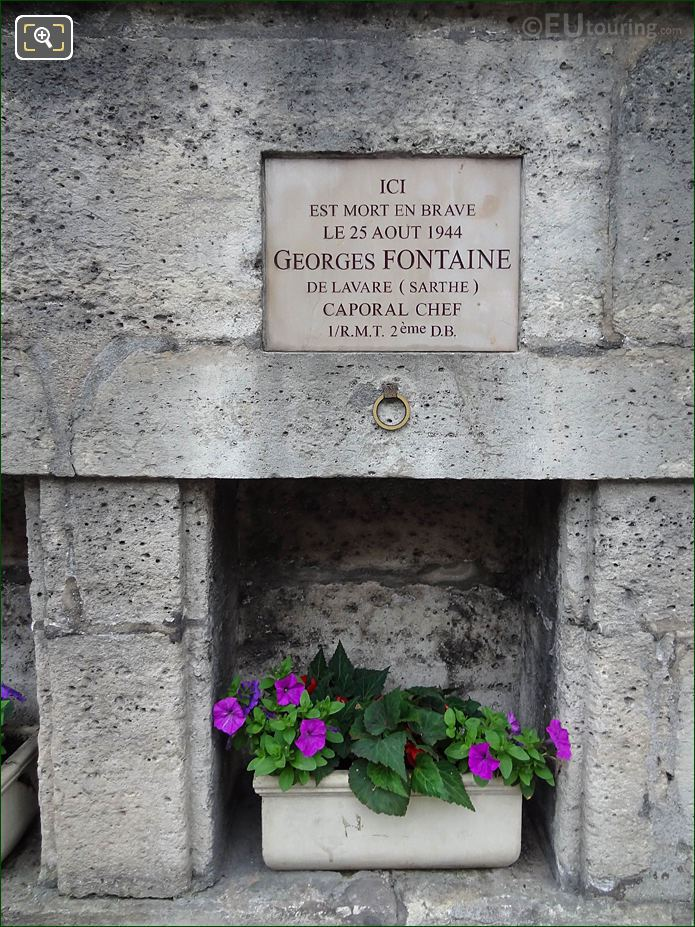 WW II Memorial Plaque Georges Fontaine NW Wall Tuileries Gardens