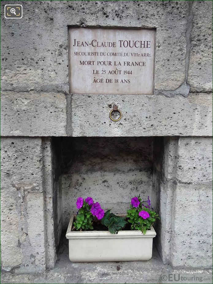 WW II Memorial Jean-Claude Touche NW Wall Tuileries Gardens