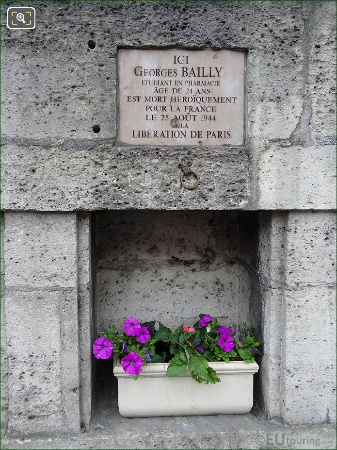 WW II Memorial Georges Bailly NW Wall Tuileries Gardens