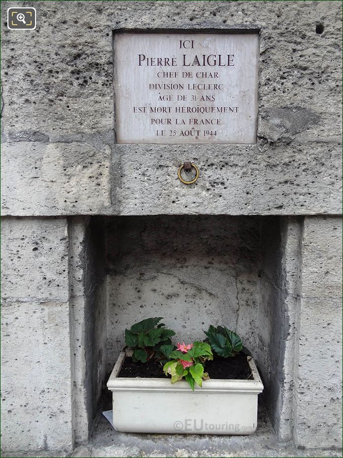 Pierre Laigle WW II Memorial NW Wall Tuileries Gardens