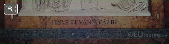 Jesus Devant Caiphe Inscription On Stone Frame