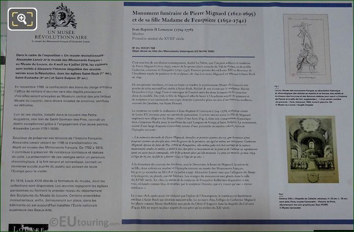 Tourist Information Board For Pierre Mignard And Countess Feuquieres Monument
