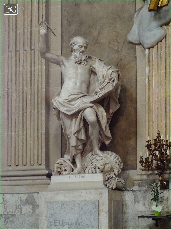Saint Jerome Statue On Pedestal At Eglise Saint-Roch