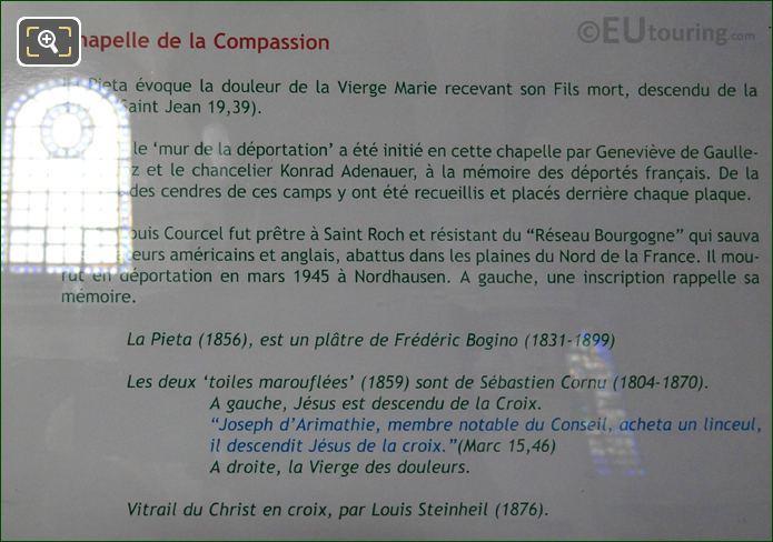 Tourist Information Board For La Pieta Statue Group