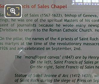 Tourist Information Board For Jesus Accable d'Outrages Sculpture At Eglise Saint-Roch