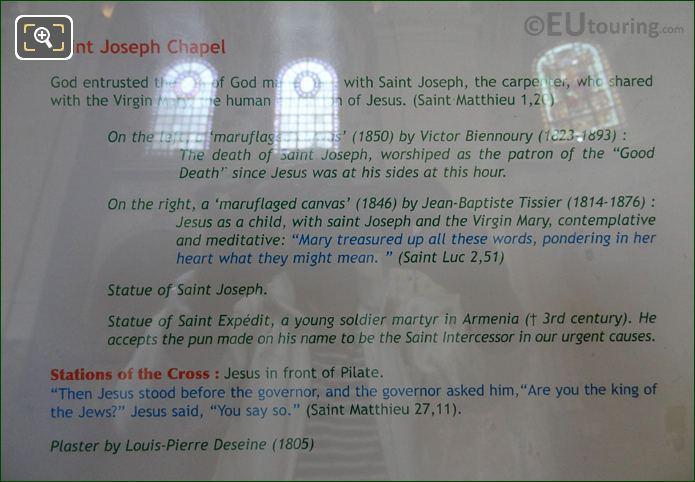Tourist Information Board For Jesus Devant Caiphe Sculpture