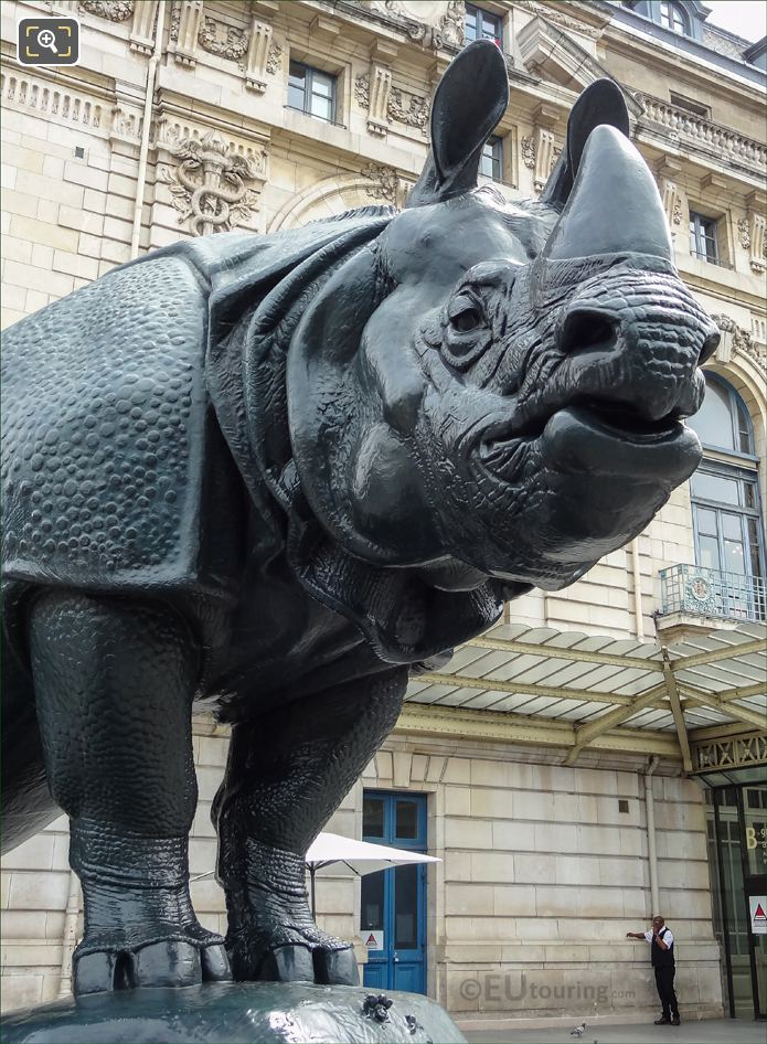 Front Legs And Head Of Rhinoceros Statue