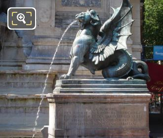 RHS Winged Dragon Statue At Fontaine Saint-Michel
