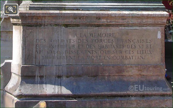 Inscription On RHS Chimera Statue Fontaine Saint-Michel