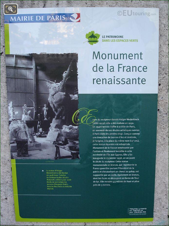 Tourist Information Board For Monument De La France Renaissante