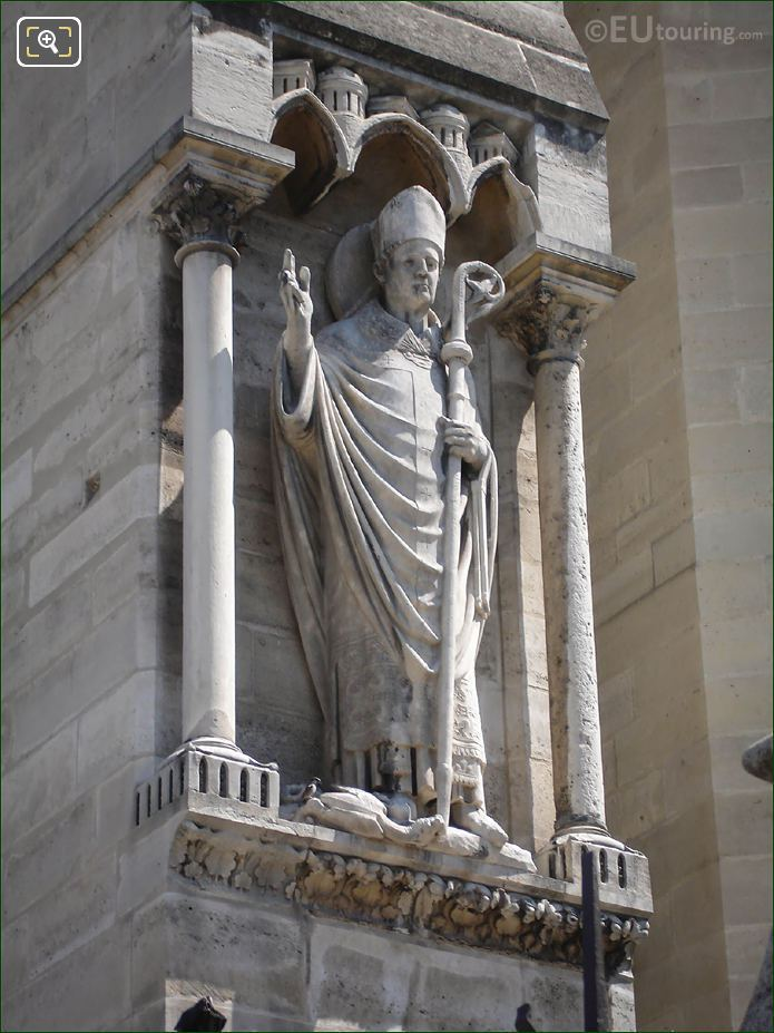 Bishop Statue On Notre Dames South Bell Tower