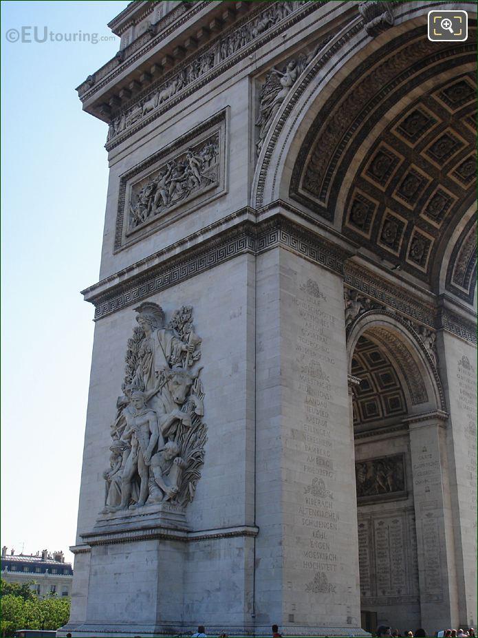 Arc De Triomphe North West Corner With La Paix De 1815 Sculpture