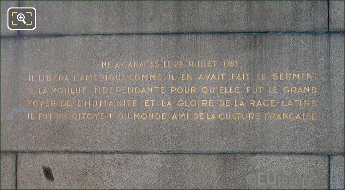 Simon Bolivar Statue Inscription