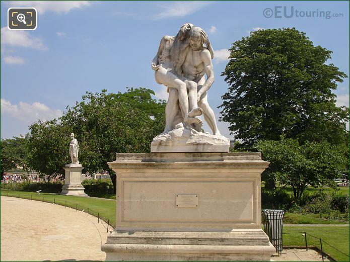 Front Of Le Bon Samaritain Statue And Pedestal