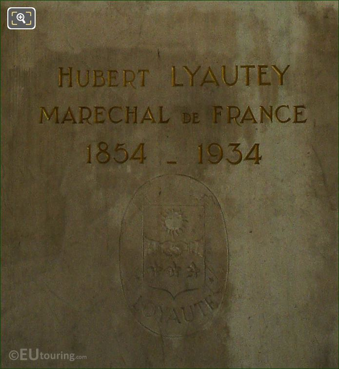 Inscription On Hubert Lyautey Statue Paris