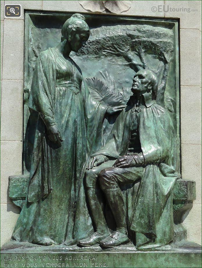 Bronze Bas Relief On Jean Baptiste Lamarck Statue