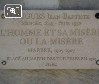 Plaque On L'Homme Et Sa Misere Ou La Misere Statue