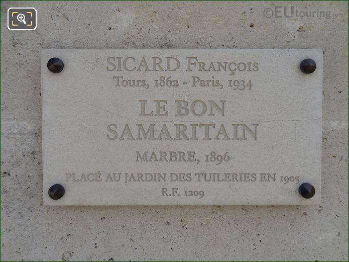 Stone Tourist Information Plaque For Le Bon Samaritain Statue