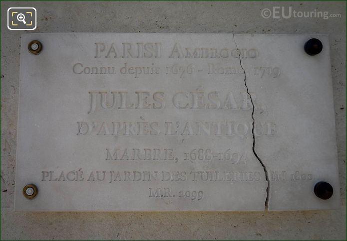Tourist Information Plaque For Julius Caesar Statue