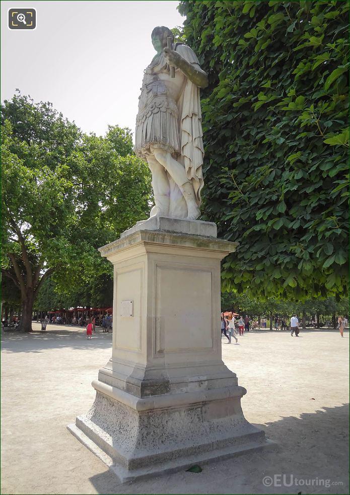 Julius Caesar Statue And Grand Allee In Tuileries Garden