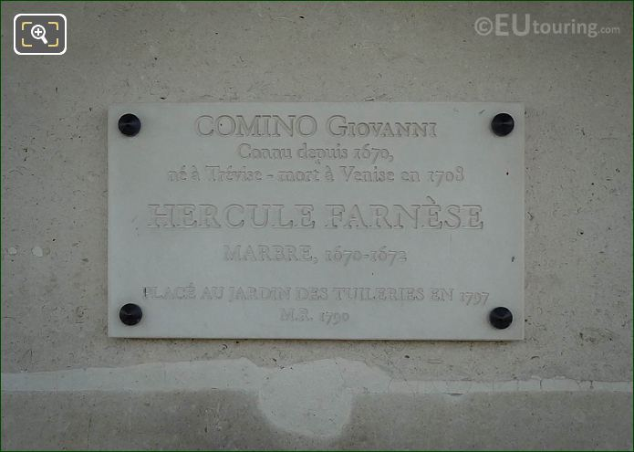Tourist Information Plaque On Hercule Farnese Statue