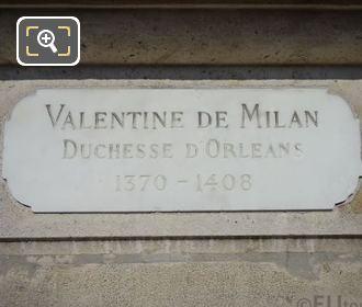 Inscriptions On Valentine De Milan Statue