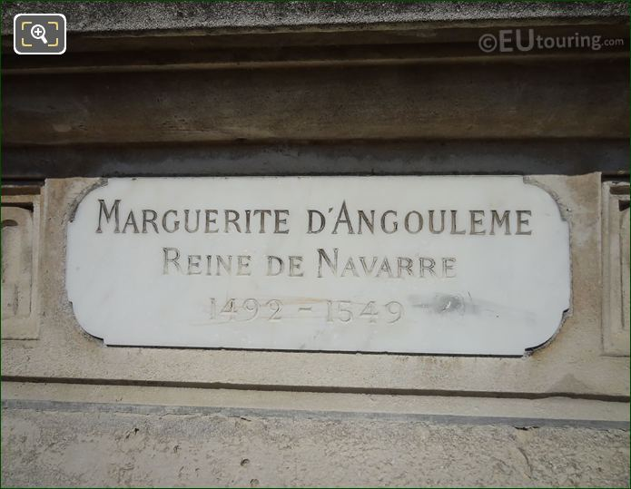 Inscription On Marguerite d'Angouleme Statue