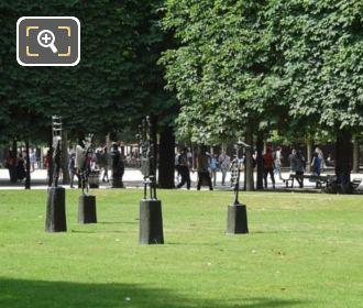 Bronze L'Echiquier Statues In Tuileries Gardens