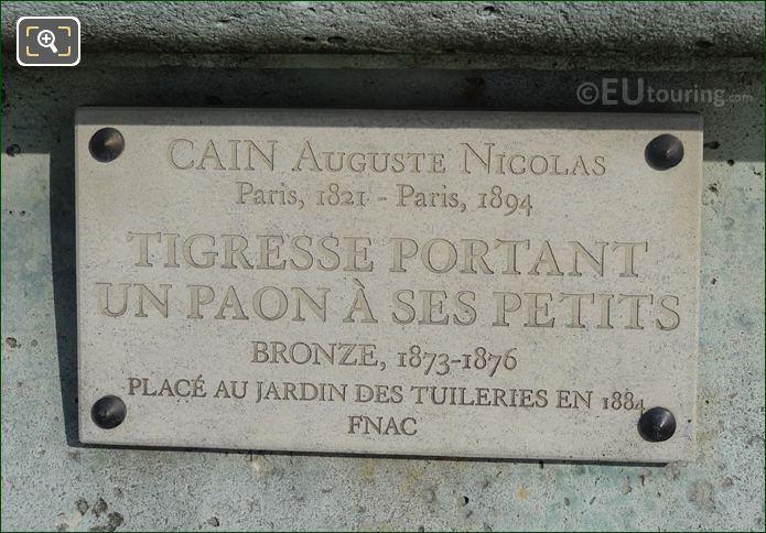 Tourist Information Plaque For Tigresse Portant Un Paon A Ses Petits Statue