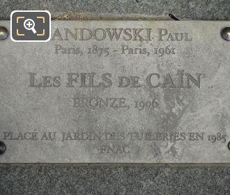 Tourist Information Plaque Les Fils De Cain Statues