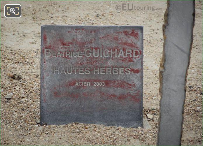 Plaque For Hautes Herbes Sculpture
