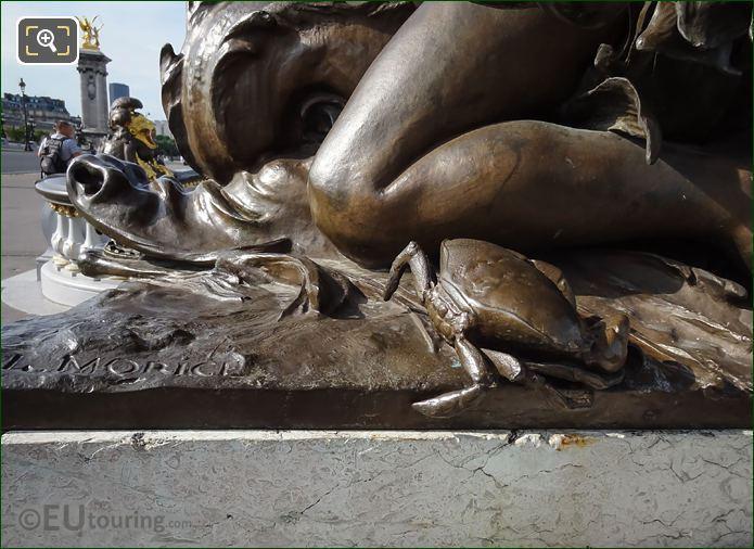 Crap Sculpture On Child With Crab Statue