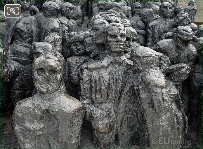 La Foule Bronze Statue Close Up Picture