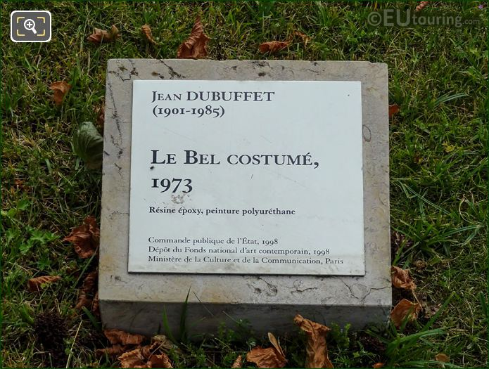 Information Plaque For Le Bel Costume Statue