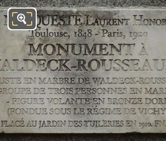 Plaque On Waldeck-Rousseau Monument